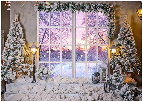 DULUDA Christmas French Window Backdrop Chirstmas Tree Winter Snow Lantern Potted Plants Photography Background Xmas Party Supply for Photoshoot Decoration Photo Booth Prop 7X5FT XM80A