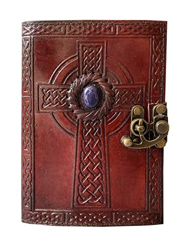 Leather Diary Embossed Celtic Cross with Royal Blue Lapis Lazuli Gemstone Stone Handmade Leather Journal Notebook & Sketchbook Best Gift for Birthday & Anniversary Gift 7 x 5 Inch