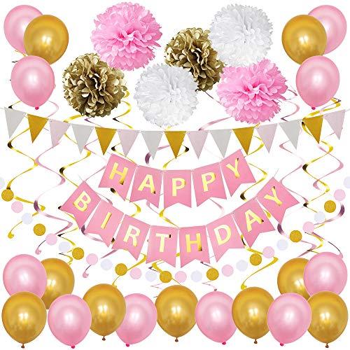 TOPWINRR Decoracion Fiesta Cumpleaños Niño Guirnaldas Decoracion Cumpleaños Globos Cumpleaños Happy Birthday Globos Látex Rosas Dorados