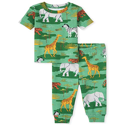 The Children s Place Unisex Baby and Toddler Camo Animal Snug Fit Cotton Pajamas  Gleam Green  5T
