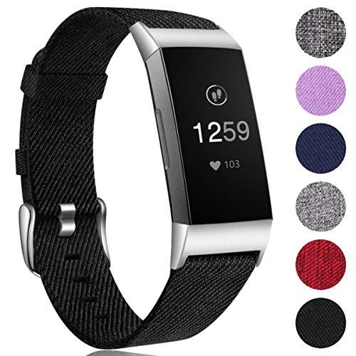 Ouwegaga Woven Armband Kompatibel mit Fitbit Charge 4 Armband/Fitbit Charge 3 Armband, Ersatzband Gewebte Stoff Armband Kompatibel mit Fitbit Charge 3/Charge 4, Klein Schwarz