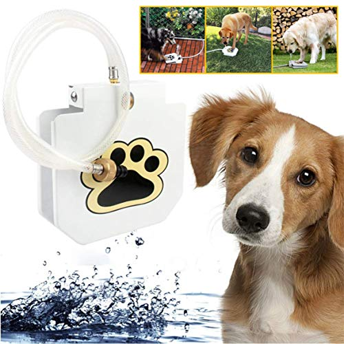 Deyace Dog Drinking Water Fountain Step On-Suitable as Large or Small Dog Water Fountain Feeder Automatic- Hose Fresh Water Funny Dog Toys Keep Pets Cool, Durable Leak-Proof Dispenser