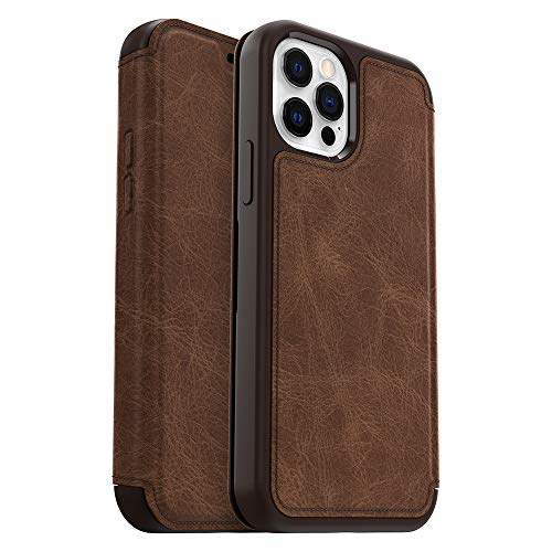 OtterBox Strada Series Case for iPhone 12 & iPhone 12 Pro - Espresso (Dark Brown/Worn Brown Leather) (77-65920)