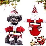 WELLXUNK Disfraz de Papá Noel de Pet, Disfraz de Navidad para Mascotas, Disfraz de Navidad para Perros Lindo Santa Claus Ropa de Fiesta año Nuevo Divertido Disfraz para Fiestas de Mascotas (S)