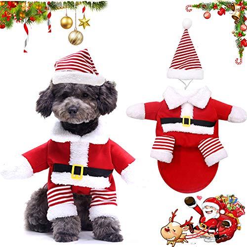 WELLXUNK® Disfraz de Papá Noel de Pet, Disfraz de Navidad para Mascotas, Disfraz de Navidad para Perros Lindo Santa Claus Ropa de Fiesta año Nuevo Divertido Disfraz para Fiestas de Mascotas (M)