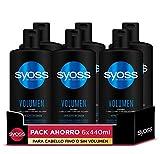 Syoss - Champú para pelo fino o sin volumen - Volumen - 6uds de 440Ml (2.640ml) – Hasta 48h de volumen sin apelmazar - Cabello como recién salido de la peluquería