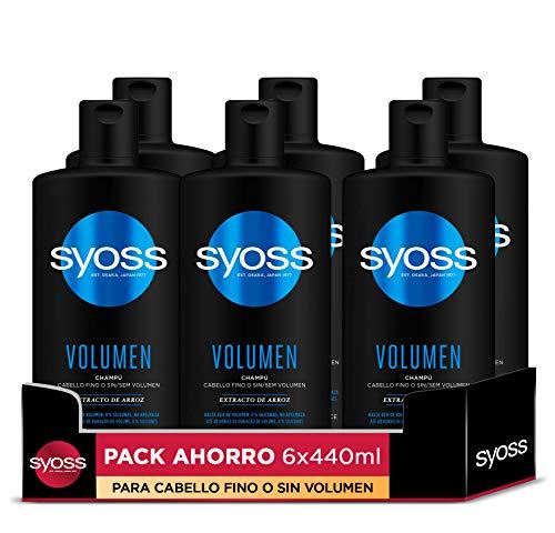 Syoss - Champú Volumen - 6uds de 440Ml (2.640ml) – Para cabello fino o sin volumen – Hasta 48h de volumen sin apelmazar - Cabello como recién salido de la peluquería