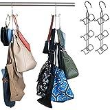 Evelots Purse Handbag Closet Organizer-Hanging-Chrome Finish-12 Hook Total-Set/2