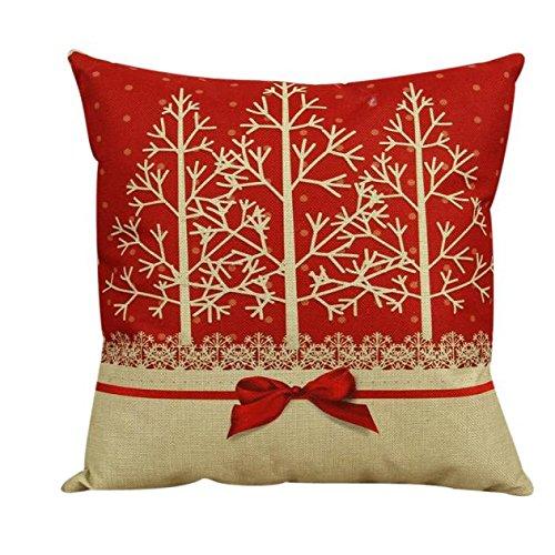 highpot Navidad manta lino funda de almohada de algodón y lino cuadrado decorativo Cojín funda de almohada por highpot