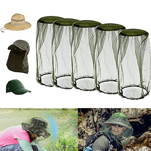 Funmo 5 Stück Moskito Kappe, Moskitonetz Kopf, Face Mesh Mask Cover, Kopfschutz Gesichtsschutz, Insektenschutz, Moskito Maske für Outdoor Liebhaber, Alle Naturliebhabervon, Grün