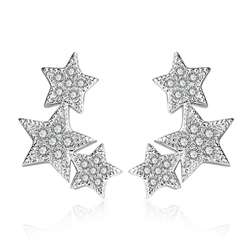 Wiftly Earrings Women's Girls Earrings 925 Silver with Cubic Zirconia Stars Stud Earrings Fashion Jewellery Gifts for Christmas Birthday Hypoallergenic