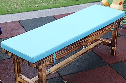 jHuanic Cojín impermeable para banco de 2/3/4 plazas al aire libre, 100/120/150 cm, cojín rectangular para asiento de banco para columpio (90 x 40 x 5 cm), color azul