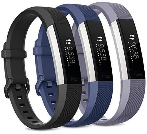 Vancle 3 Pack Kompatibel für Fitbit Alta HR Armband und Fitbit Alta Armband, Verstellbares Sport Ersatzarmband für Fitbit Alta HR/Fitbit Alta (Schwarz/Marine Blau/Grau, L)