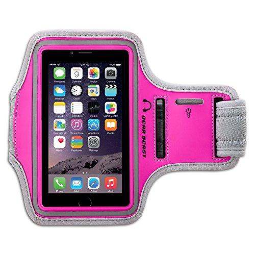 Gear Beast Sportarmband für Apple iPhone X 8766S 5SE Samsung Galaxy S7S6S6Edge. Handy Halterung für Running Joggen Workout Fitness und Sport. Band, Wasserdicht, mit Schlüsseltasche, Grau/Pink