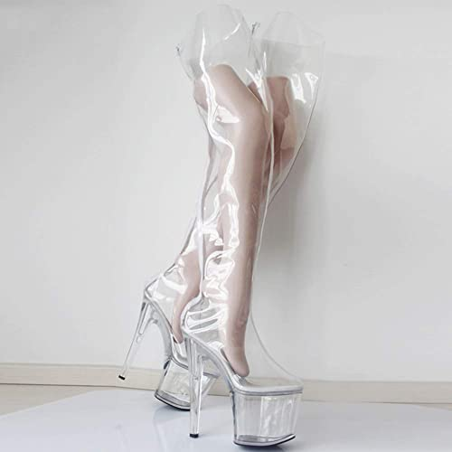 COSY-L Femme Bottes Hautes Mode Transparent Chaussures à Talon Bottines Longue Bottes sur Le Genou Bottes de Reine Ballet SM Flirt Unisexe
