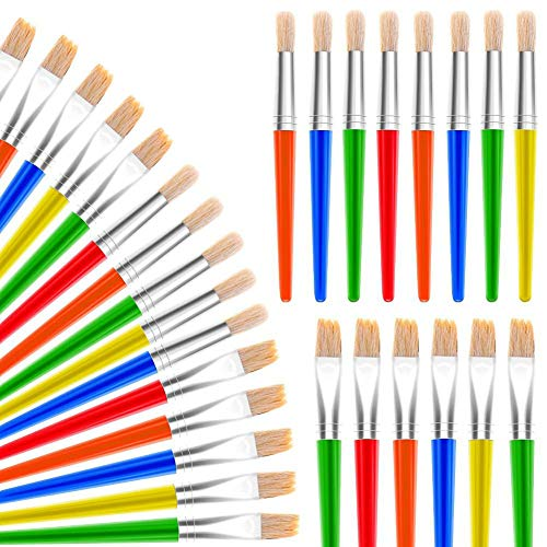 Paint Brushes, Anezus 30 Kids Paint Brushes Bulk Children Paint Brushes Set with Jumbo Round Watercolor Paint Brush and Large Flat Craft Paint Brushes