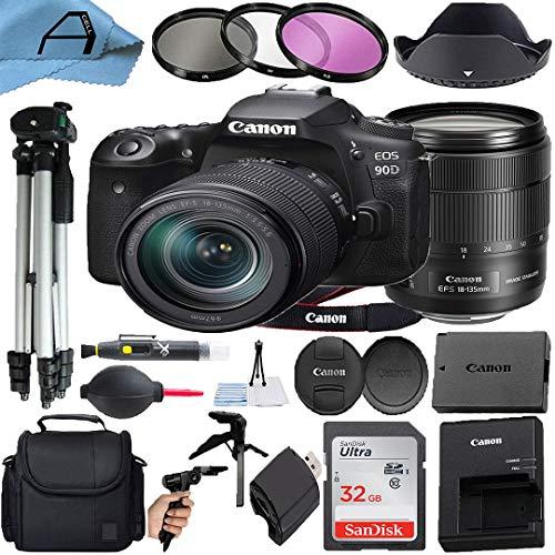 Canon EOS 90D DSLR Camera 32.5MP Sensor with EF-S 18-135mm Lens, SanDisk...