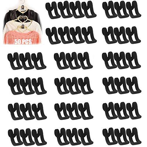 Kleiderbügel Verbinder Haken Beflockung Schrank Haken Cascading Kleiderbügel Haken Stapelbarer Haken Velvet Kleiderbügel Haken Organize Raumspar Gestell Kleiderbügelhaken Samt Haken Organizer(50stück)