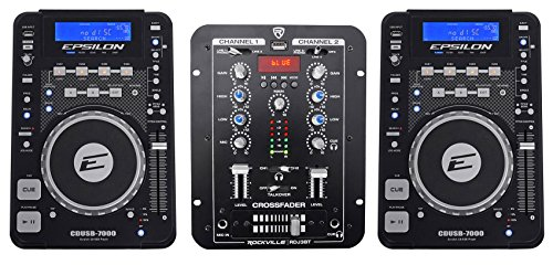 (2) EPSILON CDUSB-7000 Tabletop DJ Scratch CD/MP3/USB Digital Turntables+Mixer