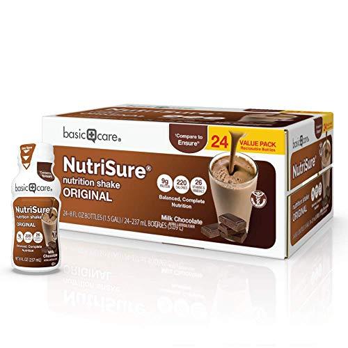Amazon Basic Care Nutrisure Original Nutrition Shake, Milk Chocolate Flavor, 8 Fl Oz (Pack of 24)