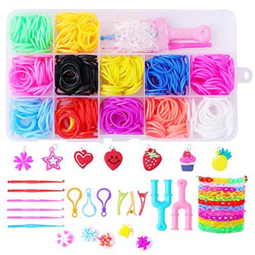 Herefun Gummibänder Set, 600Pcs DIY Gummibänder Rainbow Gummiband , Armband Halskette Strickwerkzeug Bastelset für Kinder, Bunt Lom Starter Box mit U-förmiger Webrahmen, Häkelnadeln, S-Clips