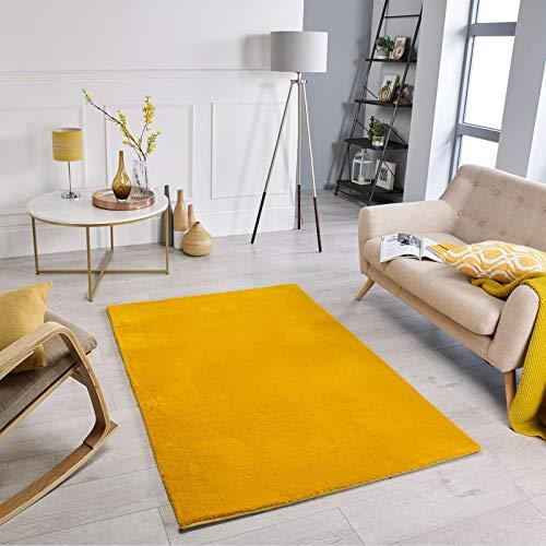 Oriental Weavers Weicher, moderner, farbenfroher Teppich, für Wohnzimmer, Schlafzimmer, Nicht fusselend, 060 x 120 cm, Anthrazit; Teppich aus 100% Polyester-Mikrofaser, senffarben, 060x120cm