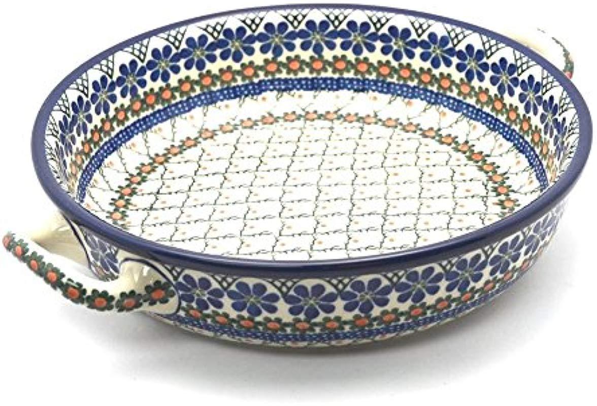 Polish Pottery Baker Round With Handles Large Primrose