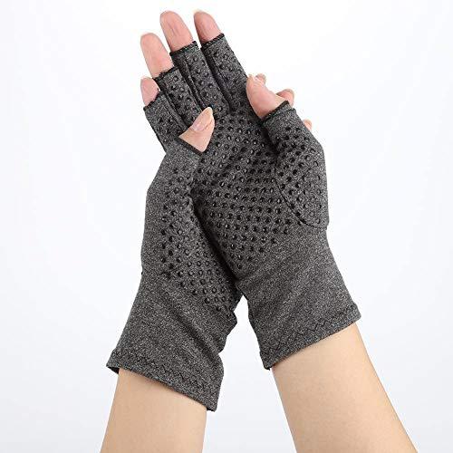 Arthritis Handschuhe, Kompressionshandschuhe Partikel Kompression Unterstützung Fingerlos Anti Arthritis Handschuhe für Fingergelenk Schmerzlinderung für Damen Herren
