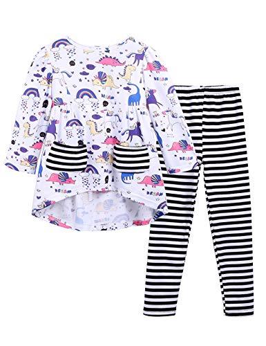 trudge Mädchen Schlafanzug Einhorn Baumwolle Pyjama Set Langarm Zweiteiliger Nachtwäsche Playwear Set Patchwork Kinder Bekleidungsset Outfits Freizeitkleidung