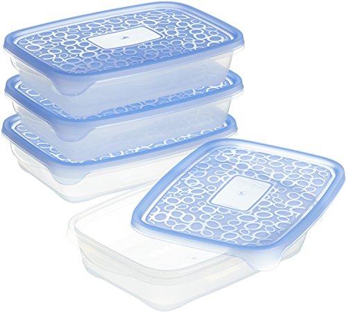 CURVER | Lot Take away Rectangulaire 4x1L, Transparent/Bleu, Foodkeepers OPP, 24,5x16,5x9,5 cm