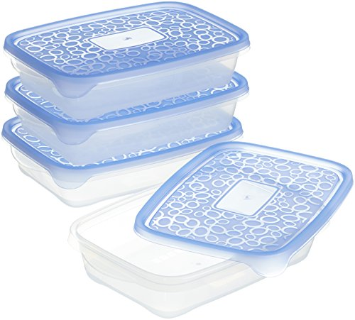 CURVER | Lot Take away Rectangulaire 4x1L, Transparent/Bleu, Foodkeepers OPP, 24,5x16,5x9,5 cm