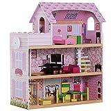 HOMCOM Kinder Puppenhaus Puppenstube Dollhouse 3 Etagen mit Möbeln L60 x B30 x H71,5 cm