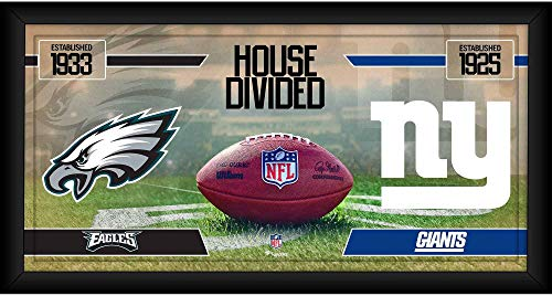 """Philadelphia Eagles vs. New York Giants Framed 10"""" x 20"""" House Divided Football Collage - NFL Team Plaques and Collages"""