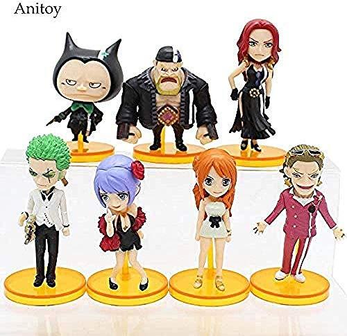 MNZBZ 7pcs / Set One Piece Film Gold Zoro Nami Gild Treasure Baccarat PVC Figura Colección Juguetes 6-8 cm KT4115