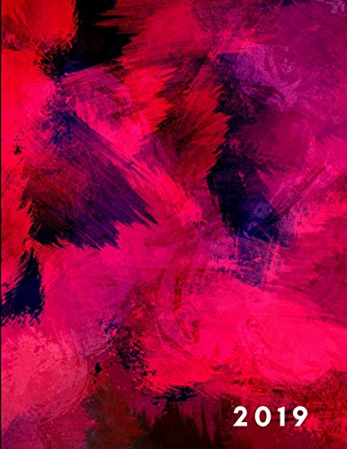 2019: Artistic Abstract Red Week To View Planner For Daily Scheduling, Monthly Agenda and Goal Planning…