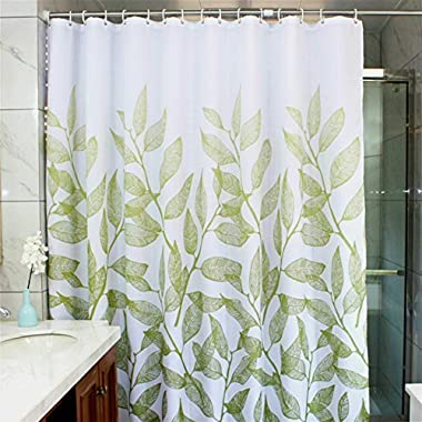MangGou Leaves Fabric Shower Curtain,Waterproof Polyester Bathroom Curtain,Decorative Shower Curtain liner With 12 Hooks,Mildew resistant,Machine Washable,72 x 72 inch,Green