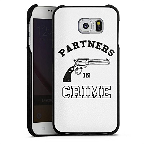 DeinDesign Samsung Galaxy S6 Lederhülle Leder Case Leder Handyhülle Pistole Crime Freundschaft