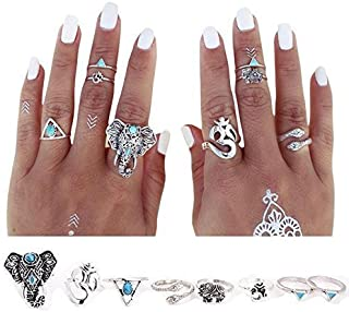 J.C Arts 8PCS/Set Antique Silver Plated Vintage Bohemian Turkish Midi Ring Set Steampunk Snake Turquoise Ring Knuckle Rings For Women Jewelry