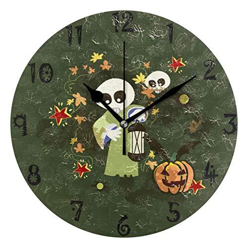 BEUSS Arte Cráneo Hueco Verde Reloj de Pared Silencioso Decorativo Madera Vintage Relojs para Dormitorio Hogar Oficina Escuela Decoración