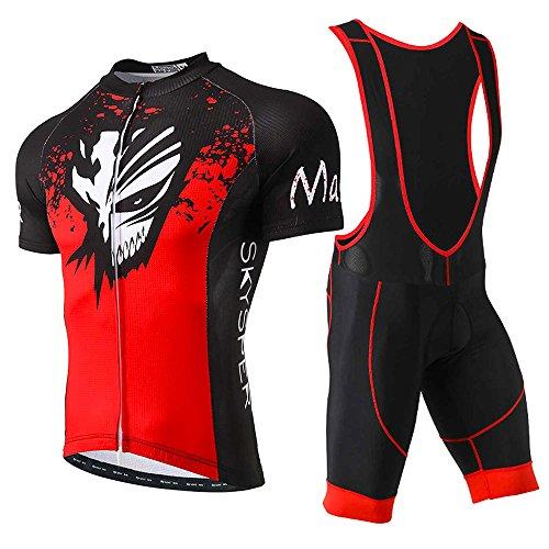 SKYSPER Homme Maillot de Cyclisme Manches Courtes et Cuissard à Bretelle avec Respirant 3D Gel Rembourré Séchage Rapide pour Sports de Plein Air ,Xsmj,(CN)L=(EU)M