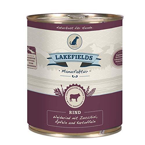 LAKEFIELDS MANUFAKTUR Nassfutter MENÜ RIND 61% Fleischanteil für Hunde 6x800g