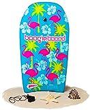 Boogie Board 33 Bodyboard - Durable Fiberclad Deck Phuzion Core Leash - Choose Your Graphics (Hawaiian Hipster, Aqua)