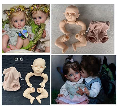 iCradle Kit Reborn sin Pintar Reborn de Silicona Suave sin Pintar Accesorios de Suministro de Piezas Ideal para DIY Elfo Reborn Doll Tamaño Final 12 Pulgadas Cabeza Ojos Tela Cuerpo Kit Reborn Mini