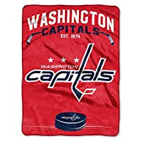 "Officially Licensed NHL Washington Capitals ""Inspired"" Plush Raschel Throw Blanket, 60"" x 80"", Multi Color"