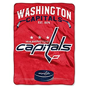 """Officially Licensed NHL Washington Capitals """"Inspired"""" Plush Raschel Throw Blanket, 60"""" x 80"""", Multi Color"""
