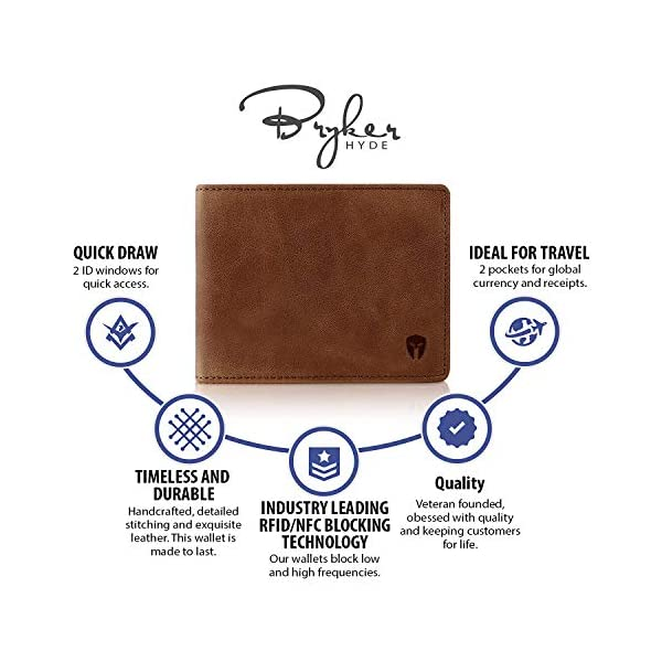 2 ID Window RFID Wallet for Men, Bifold Top Flip, Extra Capacity Travel Wallet (Brown – Distressed Leather, Medium)