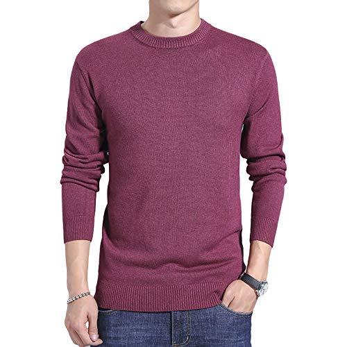 Jersey de Cuello Redondo para Hombre Pullover Color slido Ajuste Regular Clido y cmodo Tejido Fino Manga Larga Casual Jersey bsico 4X-Large