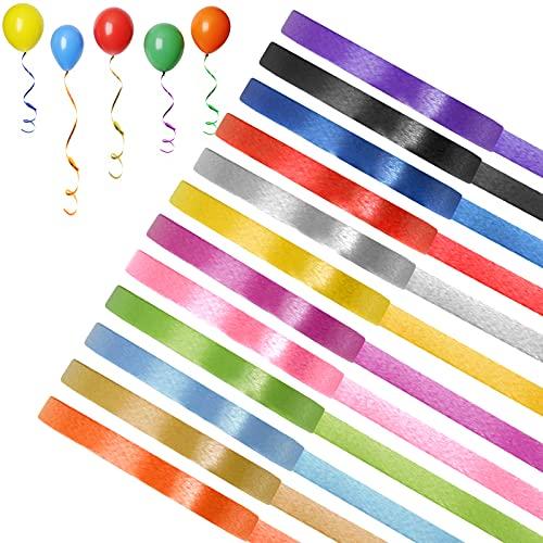 Eokeey 24 Rollen Geschenkband Set,12 Farben Bunten Ringelband Polyband für Geburtstag Hochzeit Luftballons, Glitzer Bastelband zum Geschenkverpackung Weihnachten Basteln Party Deko (5mm)