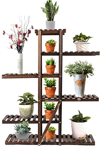 Augosta Multi Tiered Plant Stand for Indoor and Outdoor, Large Wood Plant Shelf for Multiple Plants, 6 Tier Plant Flower Pots Shelves Rack Holder Stand