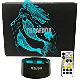 YODAFOOR Mermaid Dolphin Fish 3D Illusion Night Light Bedside Lamp 7 Colors Timing Function Remote Control Best Mermaid Birthday for Teens Girls Kids Women Bedroom Decor-ation